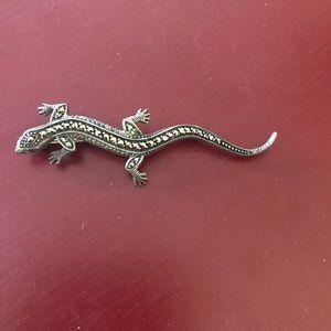 Vintage sterling marcasite salamander lizard pin